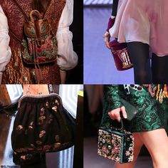 Trendy bag style for FW 2015: Velvet bag. Vintage antique velvet bags. Alberta Ferretti, Olympia Le Tan, Fashion East, and Dolce and Gabbana Fall Winter 2015.