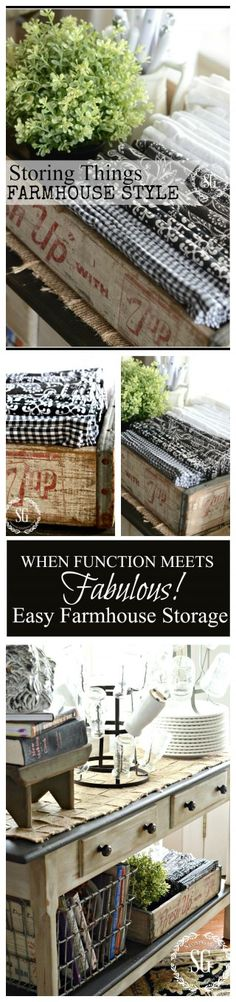 WHEN FUNCTION MEETS FABULOUS!  Easy ways to store things FARMHOUSE STYLE Industrial Farmhouse, French Farmhouse, Farmhouse Chic, Vintage Farmhouse, Country Farmhouse, Country Decor, Rustic Decor, Country Charm, Farmhouse Ideas