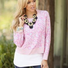 In the Wild Leopard Sweater Neon Pink