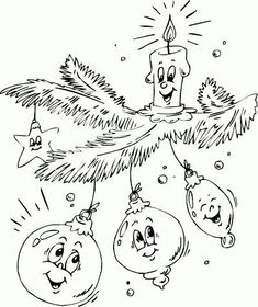 ornaments and candle on branch coloring page Christmas Colors, Christmas Art, Xmas, Vintage Embroidery, Embroidery Patterns, Hand Embroidery, Christmas Coloring Sheets, Illustration Noel, Christmas Templates