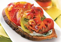 Open-Faced Tomato Sandwiches with Basil Mayonnaise and Bacon    Read more: http://www.oprah.com/food/The-Best-Sandwiches/28#ixzz26VzmG4QA