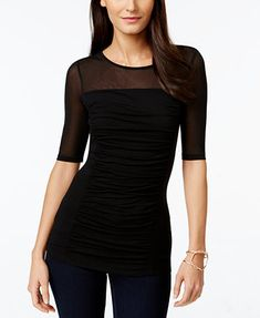 INC International Concepts Ruched Illusion Top, Only at Macy's - Tops - Women - Macy's