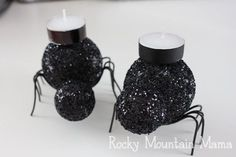 DIY Halloween : DIY glitter spider candles