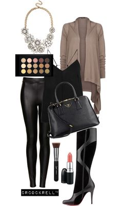 Leather on Leather : Black Jaclyn Hill fashion & makeup