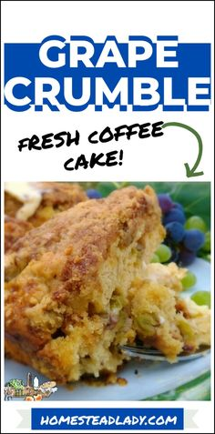 For dessert or breakfast, use purple, green or red grapes to make this healthy grape coffee cake recipe with crumble topping l Back-to-school tradition! l Homestead Lady.com #backtoschool #grape #breakfast #healthytreat Healthy Dessert Recipes, Healthy Treats, Appetizer Recipes, Whole Food Recipes, Cake Recipes, Breakfast Recipes, Desserts, Modern Homesteading, Red Grapes