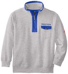 Nautica Big Boys' Fleece 1/4 Zip #Sweatshirt, Ash Heather, Large.