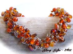 Wire Crochet Necklace...Burnt Orange Glass and Bronze Pearls and Brown Fall  Accents  on Silver Wire Crocheted Necklace (Free Shipping)