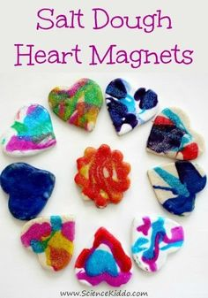 Spin art salt dough valentines are the perfect non candy valentine craft to give this year. Add a magnet to turn them into adorable heart magnet valentines!