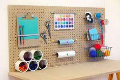 DIY Kids Craft Desk- love the peg board to keep materials off of desk surface Craft Organization, Craft Storage, Attic Storage, Storage Area, Diy Crafts For Kids, Arts And Crafts, Kids Diy, Diy Niños Manualidades, Deco Kids