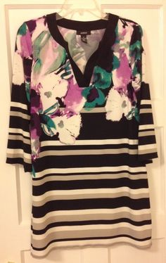 Size Medium Floral and striped shirt dress