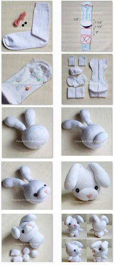 89 Brilliantly Frugal Ways To Use Old Mismatched Socks – Usefull Information - Stofftiere Sock Crafts, Cute Crafts, Creative Crafts, Fabric Crafts, Diy And Crafts, Crafts For Kids, Bunny Crafts, Easy Crafts, Sewing Toys