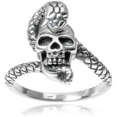 Journee Collection Sterling Silver Skull Snake Ring White ($25) ❤ liked on Polyvore featuring jewelry, rings, accessories, white, wide sterling silver rings, snake ring, long rings, coiled snake ring and snake jewelry