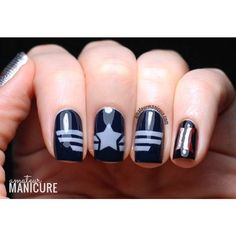 Captain America The Winter Soldier Nail Art ❤ liked on Polyvore featuring beauty products, nail care, nail treatments, nails and beauty