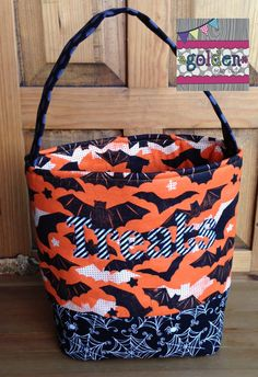 Personalized Halloween Trick or Treat Fabric Bag, Candy Bucket, Bats and Webs by goldenSewCute on Etsy