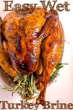 This easy wet turkey brine is the way to go this Thanksgiving! The wet brine leaves you with juicy turkey meat and crispy skin! This easy wet turkey brine leaves you with moist turkey meat and crispy browned skin for your Thanksgiving meal! Easy Turkey Brine, Moist Turkey, Healthy Thanksgiving Recipes, Thanksgiving Feast, Brine Recipe, Smoked Turkey, Cooking Turkey, Meat Recipes, Vegetarian Recipes