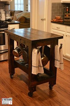 Vintage Industrial Butcher Block Cast Iron Kitchen Island Office Desk Table Drip-Dry Furniture