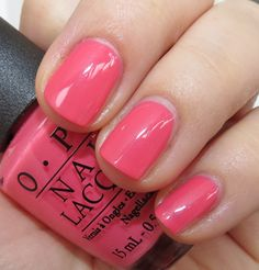 OPI Suzy's Hungary Again pink nails with subtle shimmer