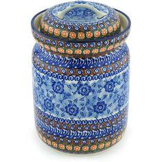 Polish Pottery 11-inch Jar with Lid | Boleslawiec Stoneware | Polmedia H8630G | Polmedia