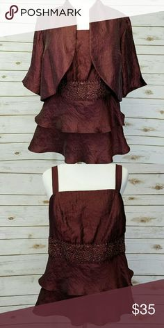 Dressbarn holiday top Worn once.  2 piece burgundy top Dress Barn Tops Blouses