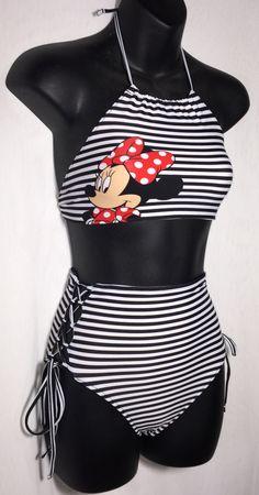 Ladies Custom Black & white striped Minnie Mouse Highwaist Vintage inspired Swimwear Bikini - Free Shipping