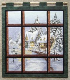 Welcome and thanks for looking!    This is an attic window overlooking a beautiful snowy chateau.    This piece is 100% handmade and machine quilted with 100% cotton fabric and polyester batting. Measurements: 25 wide by 29 high (including the dowel)    If you have any questions, feel free to contact me.    Stock number: whl0021