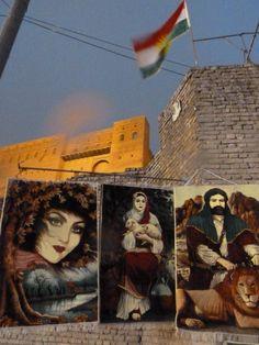 Kurdish flag flying over Erbil Citadel, Iraq