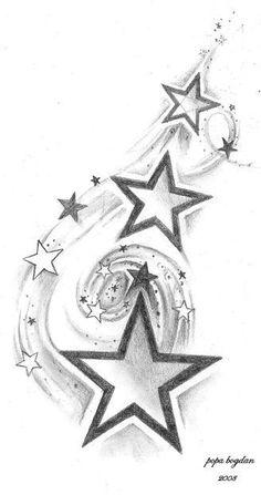 The stars and inscription on the bottom are elements that had already been on sk ideen sterne 200 Fotos de tatuagens femininas no braço para se inspirar – Fotos e Tatuagens - Flower Tattoo Designs Diy Tattoo, Tattoo Tribal, Samoan Tattoo, Tattoo Ideas, Star Tattoo Designs, Tattoo Design Drawings, Tattoo Sketches, Finger Tattoos, Leg Tattoos