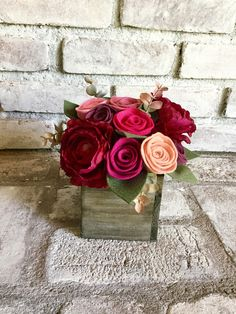 Wood box size: 4 in x 4 in Felt Colors used: Magenta, Fuchsia, Mulberry, Rose, Pink, Blush, Sage  All felt floral arrangements contain both artificial and handmade felt flowers.