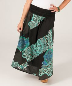 Another great find on #zulily! Aller Simplement Black & Blue Swirl Maxi Skirt - Plus by Aller Simplement #zulilyfinds