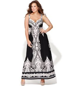 INC International Concepts Plus Size Dress, Sleeveless Paisley-Print Maxi - Plus…