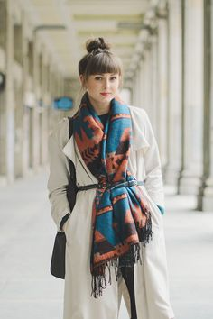 belted winter scarf over coat