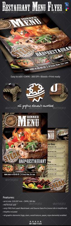 #Bar Menu Flyer - Restaurant #Flyers Download here: https://graphicriver.net/item/bar-menu-flyer/6339836?ref=alena994