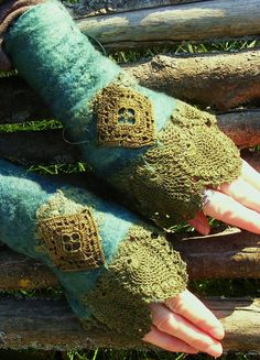 Forest Vintage Lace Faerie Cuffs. via Etsy.