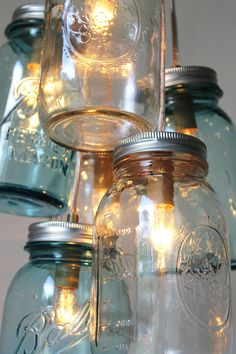 Mason Jar Chandelier - Mason Jar Light - Modern Industrial Ocean Sapphire - Handcrafted UpCycled BootsNGus Hanging Pendant Lighting Fixture