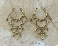 Brass Tribal Earrings, Hoop Earrings, Indian Earrings, Gypsy Earrings, Tribal Brass Earrings, Ethnic Earrings, Tribal Brass Jewelry