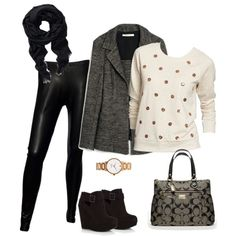 Ah! Leather skinnies, black and white pea coat, bedazzled type sweater, black scarf, LOVE