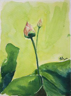 New Born Lotus in Watercolor.