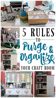 5 Rules to Purge & Organize Your Craft Room Are you drowning in craft supplies? Do you have an overflowing stash of upcycle projects? Check out my rules to purge and organize your craft room! Small Bathroom Organization, Craft Room Storage, Craft Organization, Storage Ideas, Organizing Ideas, Scrapbook Organization, Hobby Room, Sewing Rooms, Space Crafts