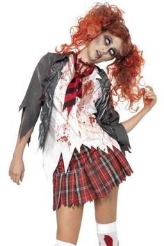 Zombie Schoolgirl costume with one day white contact lenses