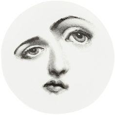 Fornasetti distorted face plate (2.505 ARS) ❤ liked on Polyvore featuring home, home decor, art, circle, backgrounds, black, circular, round, black home decor and black and white home decor