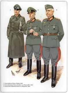 WEHRMACHT - 1) Generaloberst Walter Model, 1943 - 2) Generalleutenant Hasso von Manteuffel, 1944 - 3) General der Infanterie Erich von Meinstein, 1942