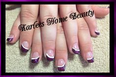 Acrylics with purple and white nail art.  Using @Klean Color nail lacquers. @Naomi Holly