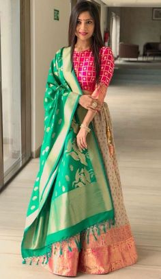Lehenga for Women: Buy Lehenga Choli Online in India at Cheapest Price Half Saree Designs, Choli Designs, Lehenga Designs, Blouse Designs, Half Saree Lehenga, Indian Lehenga, Anarkali, Banarasi Lehenga, Indian Wedding Outfits