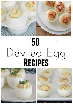 50 Deviled Egg Recipes - use up Easter eggs! - (HINT: dye the egg whites to add some color to your Easter dinner spread! Finger Food Appetizers, Appetizers For Party, Appetizer Recipes, Snack Recipes, Cooking Recipes, Easter Recipes, Egg Recipes, Holiday Recipes, Tapas