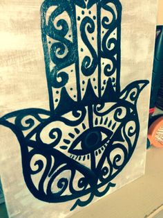 Small Hamsa Hand Canvas Painting by AmbleCrafts on Etsy
