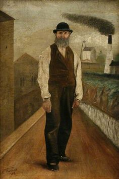 Edwyn Vincent (1858-1919), Richard Arthur (Dicky Nine Lives), 1887. Oil on canvas, 46 x 30.5 cm. Royal Cornwall Museum, Truro, Cornwall.  Richard Arthur was known as 'Dicky Nine Lives,' after falling down the inside of Pednandrea Mine stack and surviving. Pednandrea Mine is in the background of the painting.