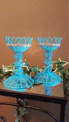 Hey, I found this really awesome Etsy listing at https://www.etsy.com/listing/236675497/set-of-2-painted-aqua-wicker-candle