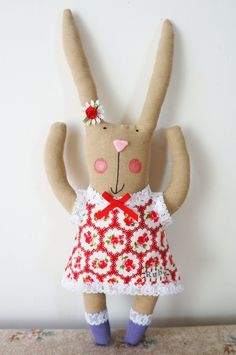 handmade bunny rabbit doll with personalised name and red floral cotton dress. by SewMice on Etsy https://www.etsy.com/listing/203596034/handmade-bunny-rabbit-doll-with
