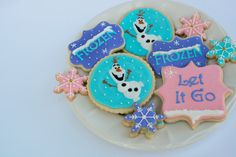 Frozen cookies, Olaf Cookies, Disney cookies, Frozen Birthday, Party Favors, royal icing cookies