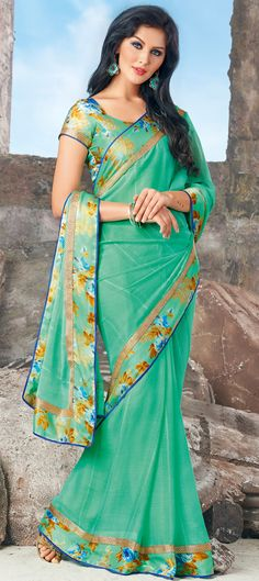 Buy Now : Rs. 1,750 /- http://www.indianweddingsaree.com/product/179923.html Green color family #Saree with matching unstitched blouse.